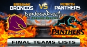 Final Team Lists - Broncos vs Panthers