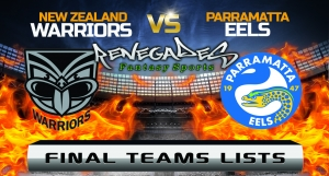 Final Team Lists - Warriors vs Eels