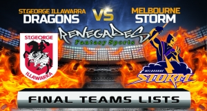 Final Team Lists - Dragons v Storm