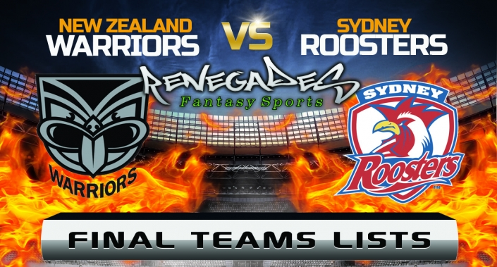 Final Team Lists - Warriors vs Roosters