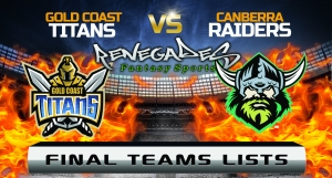 Final Team Lists - Titans vs Raiders