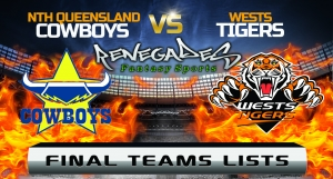 Final Team Lists - Cowboys vs Tigers