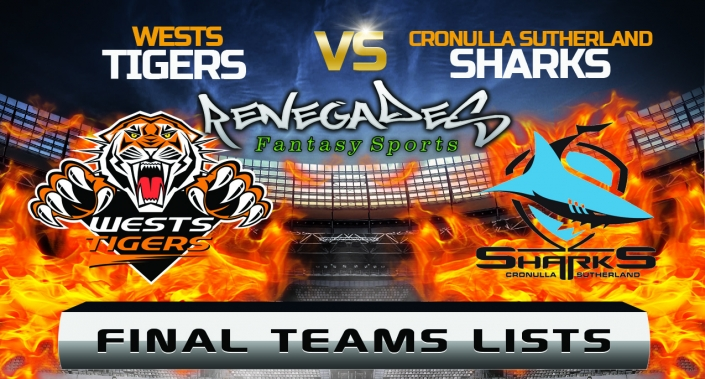 Final Teams Lists - Tigers vs Sharks