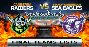 Final Team Lists - Raiders vs Sea Eagles